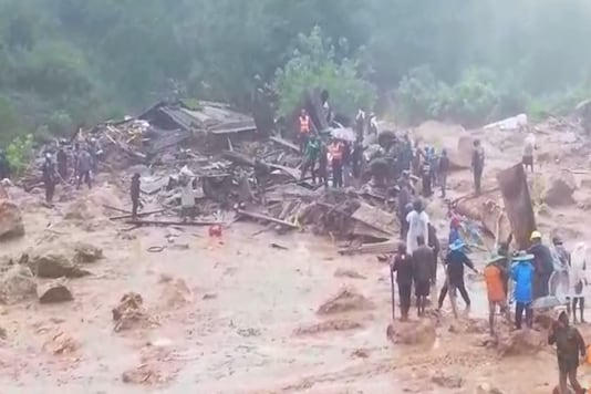 Rescue operations underway at the site of the landslide in Idukki.