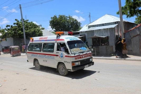 File Photo. An ambulance is seen near a blast site that rocked a military base in Mogadishu, Somalia. REUTERS/Feisal Omar