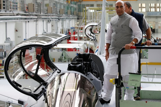 In this October 8, 2019 file photo, defence minister Rajnath Singh visits the assembly line for Indian Air Force Rafale fighter jets before a ceremony at the factory of French aircraft manufacturer Dassault Aviation in Merignac near Bordeaux, France. (REUTERS/Regis Duvignau)