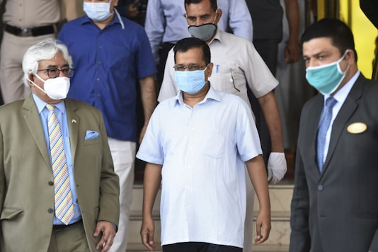 Delhi CM Arvind Kejriwal leaves after visiting Surya Hotel on June 16, 2020, following Delhi's High Court ruling to allow the use of the hotel to treat Covid-19 patients. (Money Sharma/AFP)