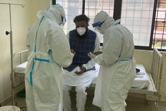 Karnataka Health Minister B Sriramulu gets admitted to the government-run Bowring Hospital in Bangalore.