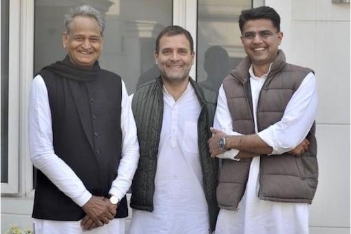 Rahul Gandhi with Rajasthan CM Ashok Gehlot and Sachin Pilot. (Twitter)