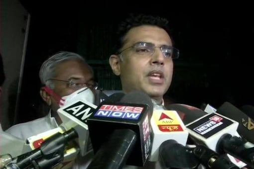 File photo: Sachin Pilot speaks to reporters outside the AICC office in Delhi on Monday night. (Twitter/ANI)