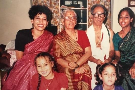 Indian Roots: Kamala Harris, back row, left. From left: her grandmother Rajam Gopalan, grandfather P.V. Gopalan and sister, Maya Harris. Front row: Maya's daughter, Meena, left, and Harris' cousin Sharada Balachandran Orihuela.