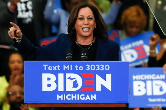 In this March 9, 2020 file photo, Sen. Kamala Harris speaks at a campaign rally for Democratic presidential candidate former Vice President Joe Biden at Renaissance High School in Detroit. (AP Photo/Paul Sancya, File)