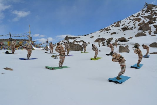 (For representation) File photo of ITBP personnel practicing Yoga in Ladakh.