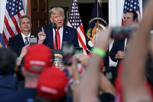 U.S. President Donald Trump delivers remarks to the City of New York Police Benevolent Association at Trump National Golf Club in Bedminster, New Jersey, U.S., August 14, 2020. REUTERS/Sarah Silbiger