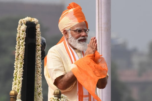 Prime Minister Narendra Modi gestures to greet after his speech to the nation during a ceremony to celebrate India's 74th Independence Day, which marks the of the end of British colonial rule, at the Red Fort in New Delhi on August 15, 2020.