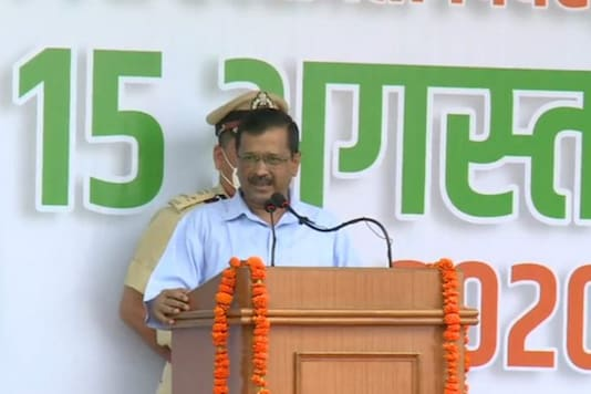 Chief Minister Arvind Kejriwal delivers the Independence Day address at Delhi Secretariat on Saturday. (Twitter/@AAPDelhi)
