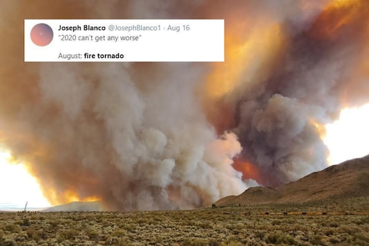Image of fire tornado in California shared on Twitter.