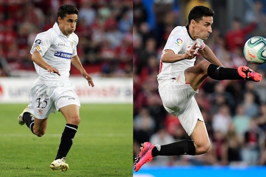 Jesus Navas in 2006 and 2020 for Sevilla (Photo Credit: Twitter)