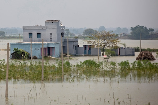 A partially submerged government building is seen in a flooded area in Bhagalpur district in Bihar. (Credit: REUTERS)