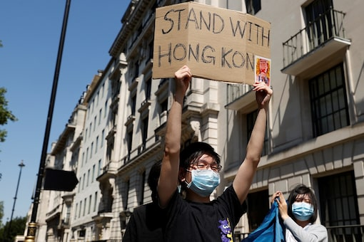 File photo of a man taking part in a protest against Hong Kong's newly enacted security law.  (REUTERS/John Sibley)
