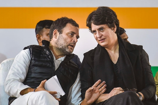 Congress leaders Rahul Gandhi and Priyanka Gandhi during an election campaign rally ahead of Delhi elections, at Hauz Qazi Chowk in New Delhi on February 5, 2020. (PTI)