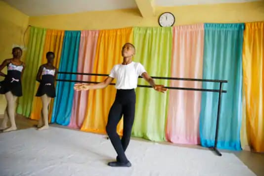 Ballet dancer Anthony Mmesoma Madu appears in his dance studio in Lagos, Nigeria Credits: AP
