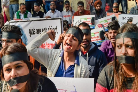 National Students' Union of India members raising slogans during a protest against rape in Hyderabad. (Representational Image: PTI)