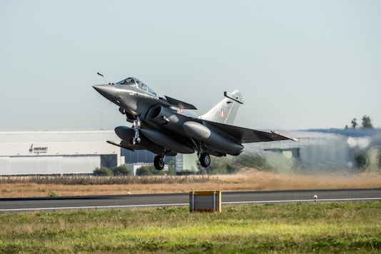 A handout picture taken and released on July 27, 2020 by Dassault Aviation shows an Indian Air Force Rafale aircraft taking off from Merignac air base, southern France. (AFP)