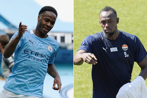 Raheem Sterling (L) took a Covid-19 test after attending Usain Bolt's birthday party. (Photo Credit: Reuters)