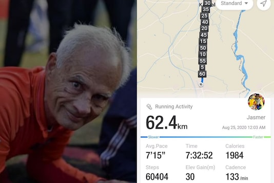 The man who run for over 62 km to celebrate  his 62nd Birthday. Credits: Twitter