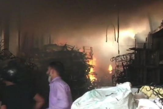 Fire breaks out at a toy company in Noida. (Image: ANI)