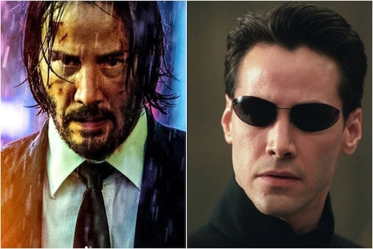Keanu Reeves as John Wick (L) and Neo (R)