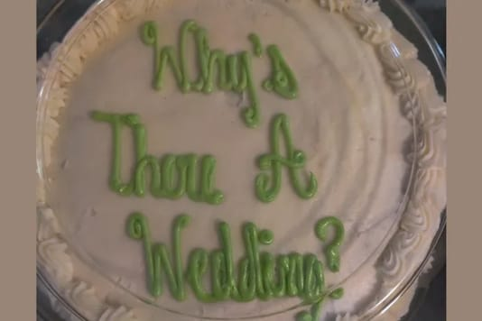 'Why's there a Wedding?' This cake fail is the hilarious error. Credits: Reddit