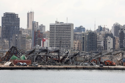 FILE PHOTO: A view of the damaged site following the explosion at Beirut port, in Beirut, Lebanon August 26, 2020. REUTERS/Mohamed Azakir/File photo