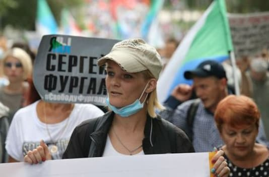 Russian city holds sixth anti-Kremlin protest over detained governor