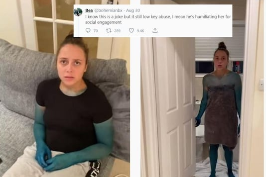 Video grab of the YouTuber pulling  a prank on girlfriend and dyeing her blue.  (Credit: YouTube/ Kristen Hanby)