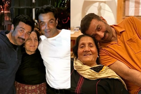 Sunny Deol and Bobby Deol with their mother.
