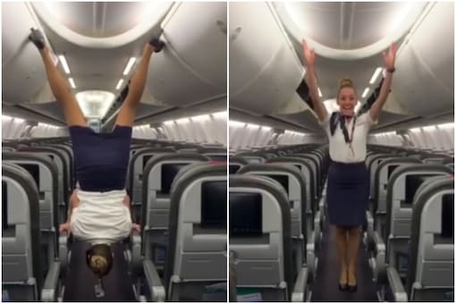 A flight attendant is going viral on the internet for het mad acrobatic skills   Image credit: YouTube