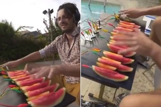 This man is using melons and kiwis to make electronic music has gone viral. Credit: Twitter