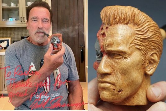 Schwarzenegger bought a hand-carved Terminator pipe from a fan on Reddit. Credits: Twitter
