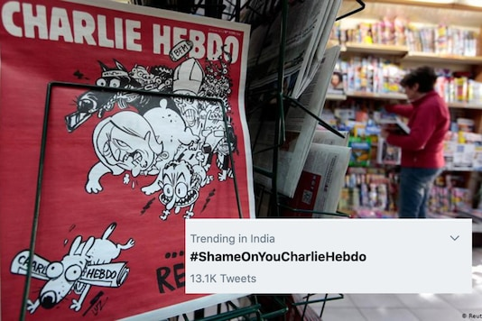 'Shame on Charlie Hebdo' was trending in India on Friday, days. after the French satirical newspaper republished a series of old cartoon on Prophet Mohammad | Image credit: Reuters (Twitter)