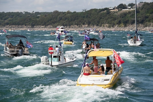 Boats take part in a parade of supporters of U.S. President Donald Trump on Lake Travis near Lakeway, Texas, U.S. September 5, 2020.  Bob Daemmrich via REUTERS