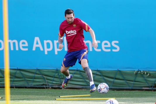 Lionel Messi at Barcelona training (Photo Credit: Twitter)