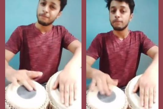 Images shows Chaitanya Varma playing the tabla. Credits: Instagram