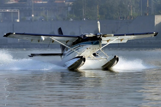 For Representation. A seaplane, with Prime Minister Narendra Modi onboard, takes off for Dharoai Dam from the Sabarmati river-front in Ahmedabad on December 12, 2017. (PTI)
