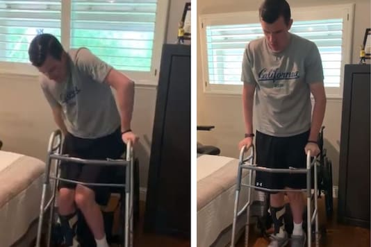Screenshot of the video showing the man getting up from hi wheelchair.
