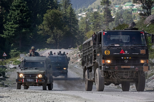 File photo of an Indian army convoy moving on the Srinagar-Ladakh highway at Gagangeer.