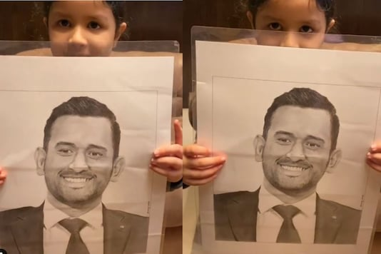 Ziva holding a sketch of father MS Dhoni. (Credit: Instagram/ Ziva_Singh_Dhoni)