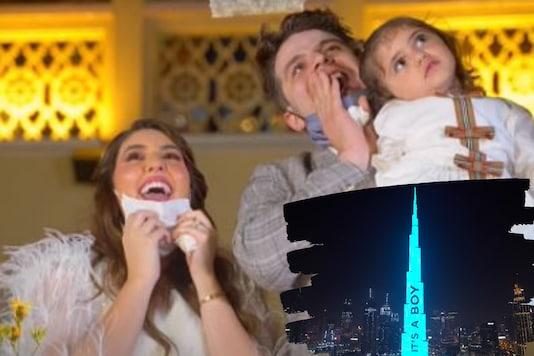 The Burj Khalifa displays the message, 'It's a boy!' Credits: Instagram