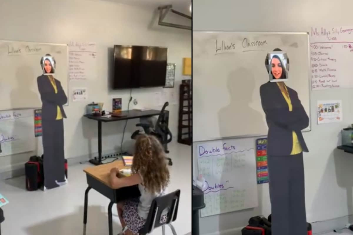 Dad Turns Garage Into Classroom Complete with Cardboard Teacher for Daughter's Online Classes