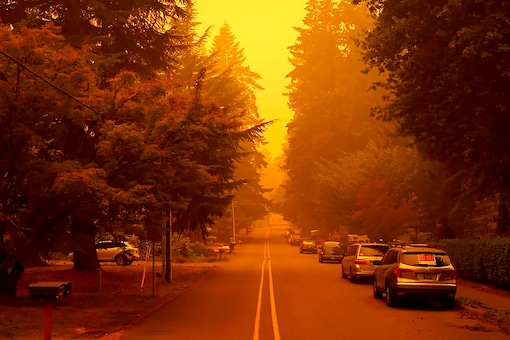 In a photo provided by Christian Gallagher, a street in West Linn, Oregon, is shrouded by smoke from wildfires.(Credit: AP)