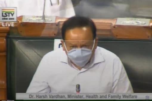 File photo of Union Health Minister Harsh Vardhan in Lok Sabha.