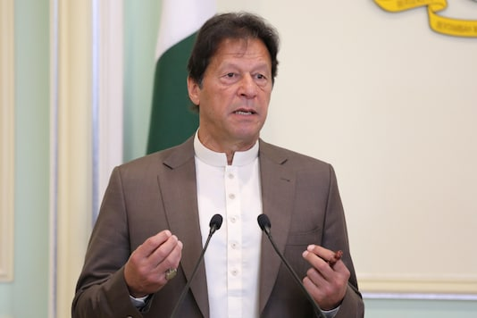 Pakistan's Prime Minister Imran Khan speaks during a joint news conferencee.