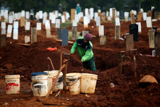 A worker prepares new graves at the  burial area provided by the government for victims of the coronavirus disease (COVID-19) in Indonesia. (Representative image: Reuters)