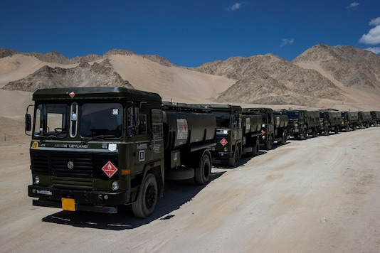 Military tankers carrying fuel move towards forward areas in the Ladakh region on September 15, 2020. (REUTERS)