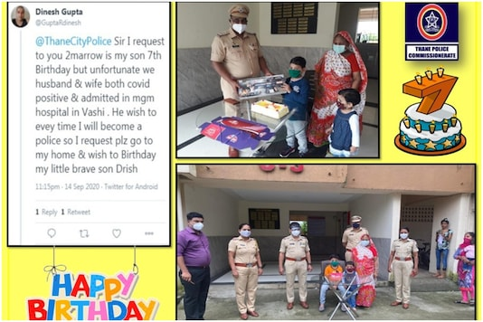 Thane police took to Twitter to share images of a birthday celebration held for a 7-year-old boy whose parents are undergoing COVID-19 treatment in hospital | Image credit: Twitter