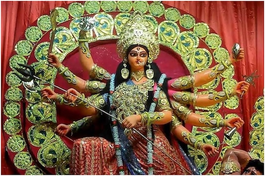 File photo of a Durga idol during puja celebrations last year.